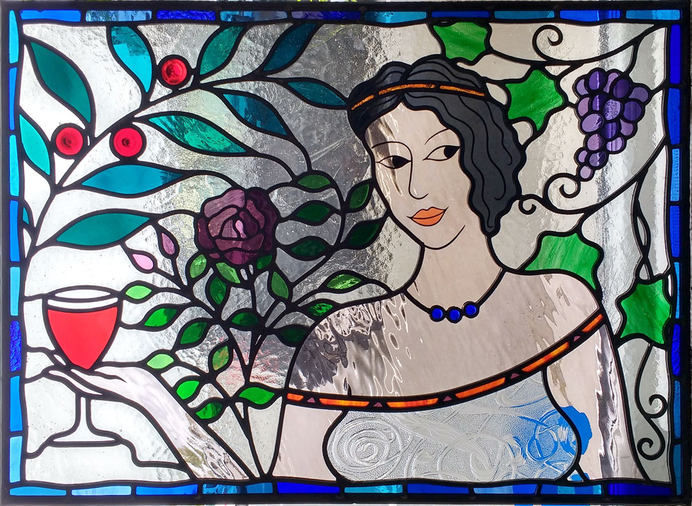 b7c71e83d6 Recent work includes a fanlight panel showing the Goddess of Wine relaxing  in a garden inviting you to join her