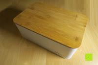 oben: Brotkasten aus Metall mit Deckel aus Bambus | 32 x 20 x 12 cm | Bewahren Sie Ihr Brot luftdicht und hygienisch auf
