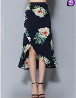 Bowknot Floral Printed Maxi Skirt (Price:$ 25.28)