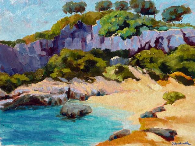 Julián Andrade, Cala en Mallorca, Paisajes de Mallorca, Mallorca en Pintura, Mallorca Pintada