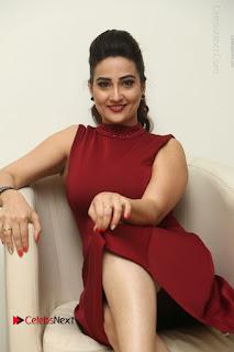 Telugu Tollywood Anchor Manjusha Pos in Red Short Dress  0084.JPG