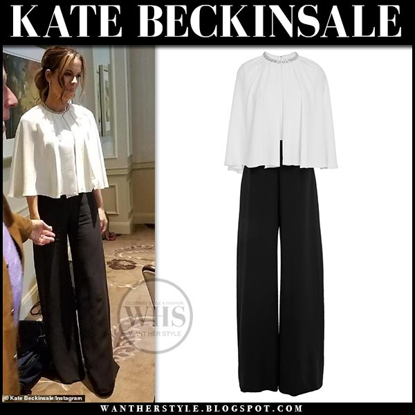 eaf7a908a15 Kate Beckinsale in black and white cape jumpsuit reem acra. Hollywood style  march 5