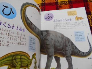 中古本、恐竜あいうえおの内容