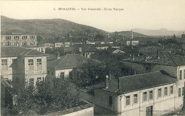 The building of today's Gymnasium in 1917 on postcard taken from Ohridska street.