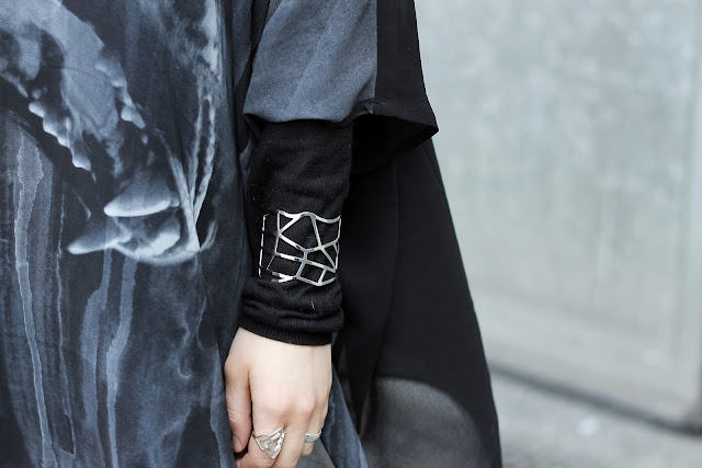 graphic silver arm cuff