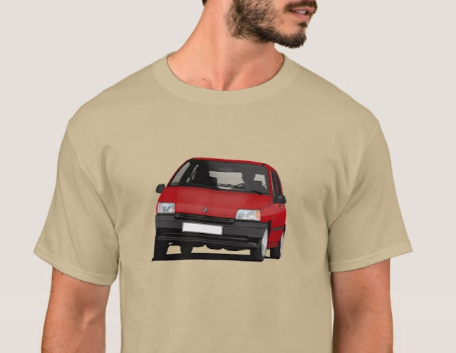 Zazzle Red Renault Clio illustration printed tshirts