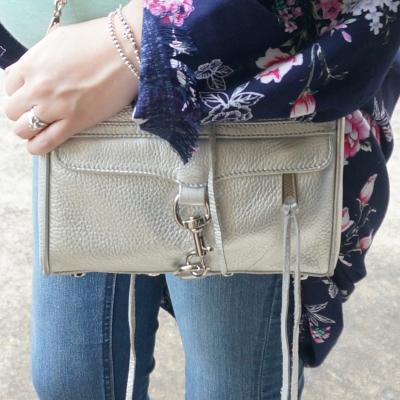 AwayFromTheBlue | Rebecca Minkoff metallic silver mini MAC floral kimono