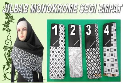 gambar dan model jilbab monokrome segi empat