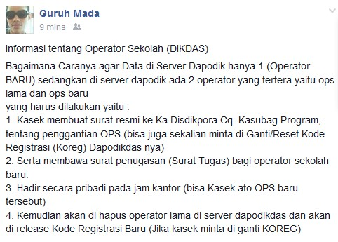 Cara Ganti Nama Operator Baru di Server Dapodik, Sehingga di Server Hanya ada 1 Nama Operator