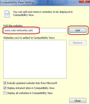 Add a Websites in the Compatibility view list