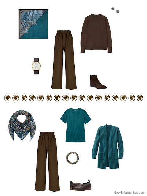 2 ways to wear brown high-waist pants from a 4 by 4 Wardrobe in browns, cream and teal