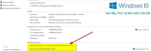 Windows đã được kích hoạt bản quyền