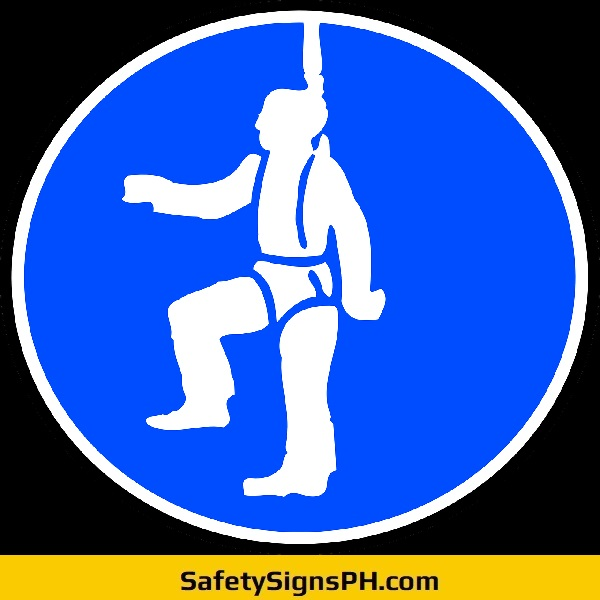 Wear Harness Fall Protection Sign