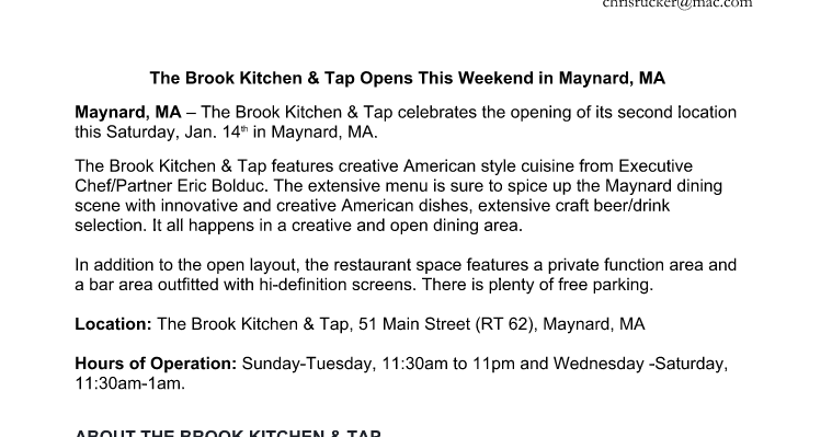 The maynard grapevine i got a press release about the for The brook kitchen and tap