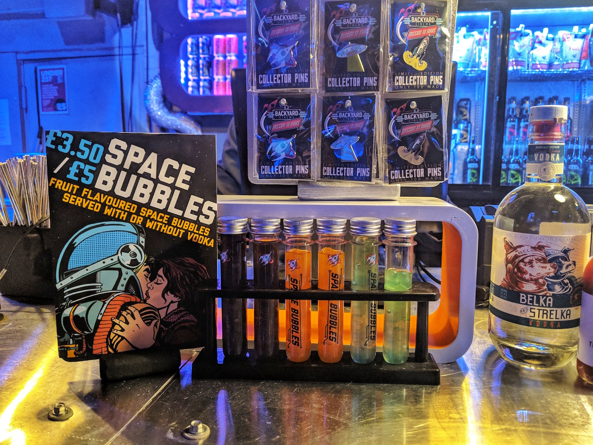Space Bubbles: themed vodka shots for the Mission To Mars edition of Backyard Cinema