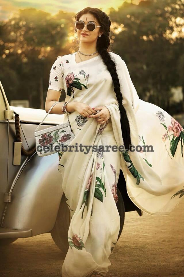Keerthy Suresh Floral Saree