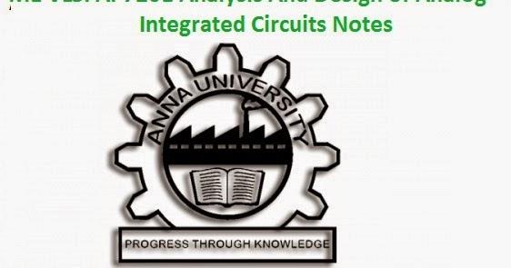 AP7201 Analysis And Design of Analog Integrated Circuits