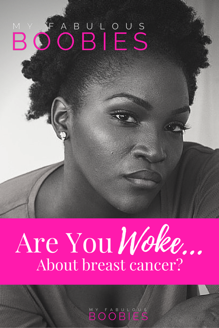 black woman with natural hair caption Are you woke about breast cancer | My Fabulous Boobies
