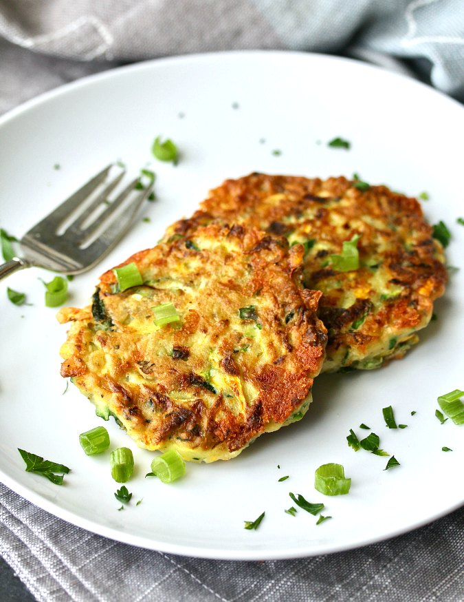 Zucchini Cheese Pancakes with scallions