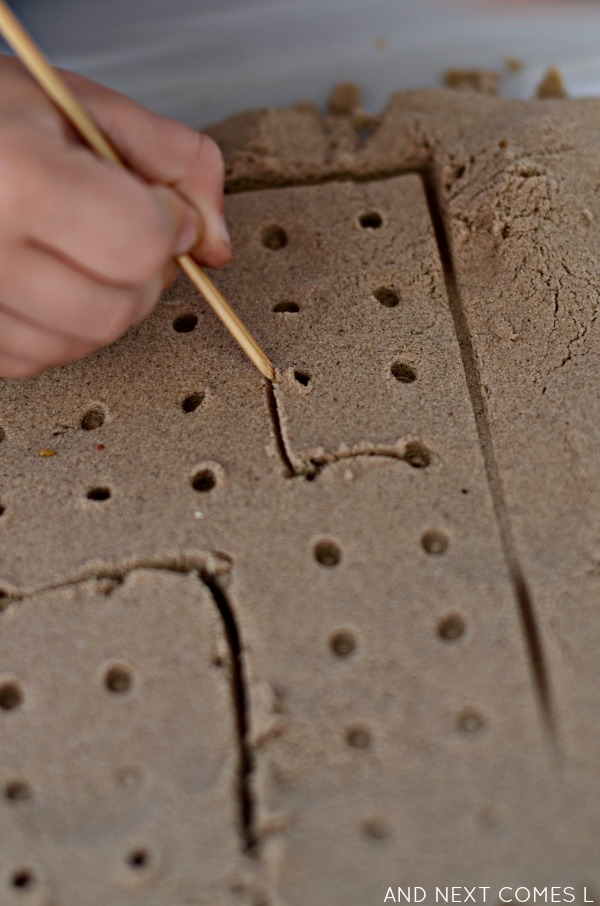 Kinetic sand dot to dot activity for kids