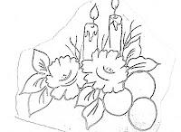 risco de natal,velas, rosas e bolas