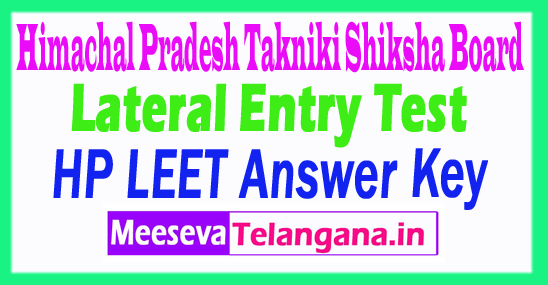 Himachal Pradesh Lateral Entry Entrance Test LEET Answer Key 2018 Download