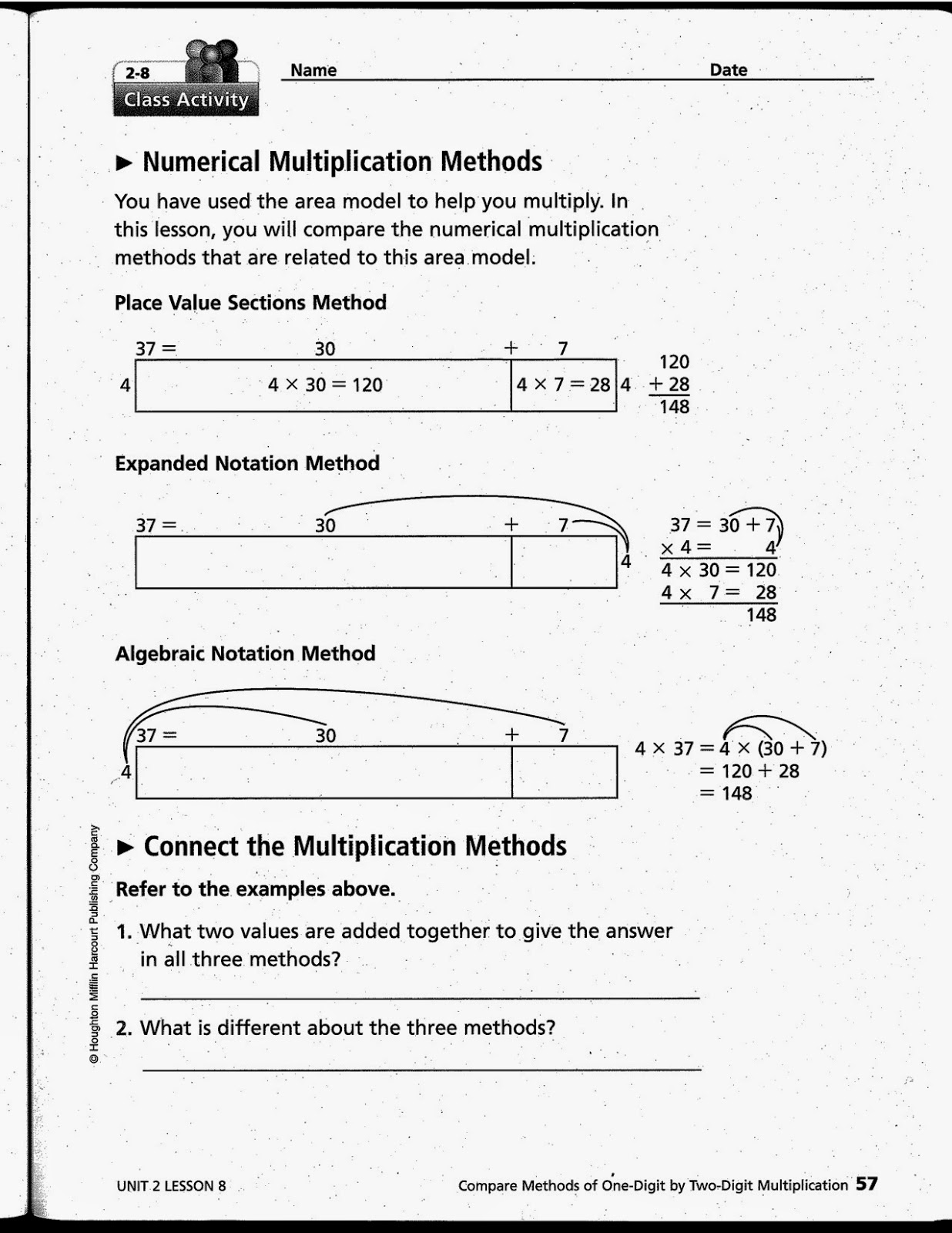 math expressions grade 4 answer key 4th Grade Findings: 3 Multiplication Methods