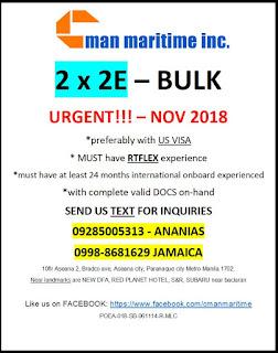 SEAMAN JOB VACANCY - Urgent hiring requirement November 2018 looking Filipino engine officer for bulk carrier vessel.