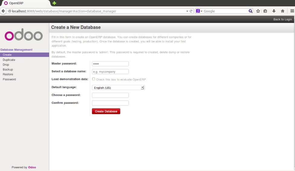 Odoo Login screen