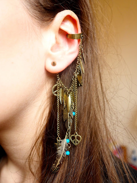 Touch the Sky - outfit jewellery details of gold feathered ear cuff, Disneybound as Merida from Brave