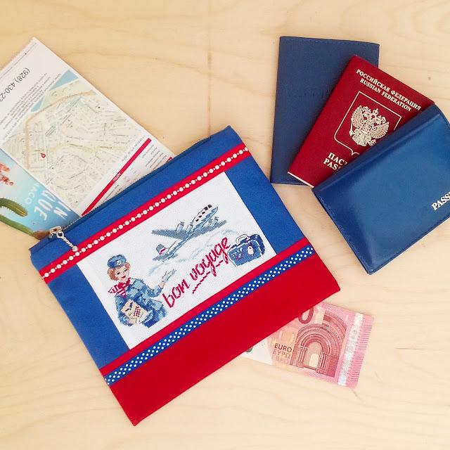 холдер для документов с вышивкой bon voyage от парижских вышивальщиц