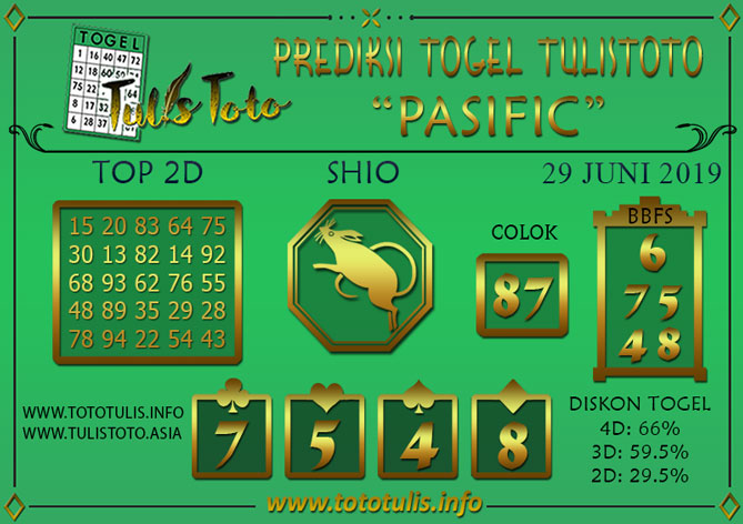 Prediksi Togel PASIFIC TULISTOTO 29 JUNI 2019