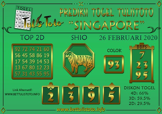 Prediksi Togel SINGAPORE TULISTOTO 26 FEBRUARI 2020
