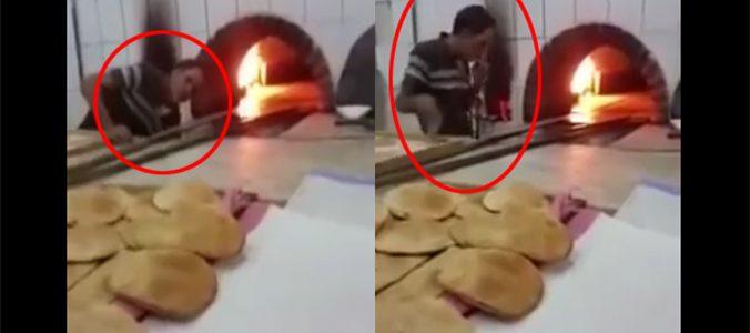 عامل مخبز يشرب السجائر أمام الزبائن وتم تصويره ونشر الفيديو للجميع