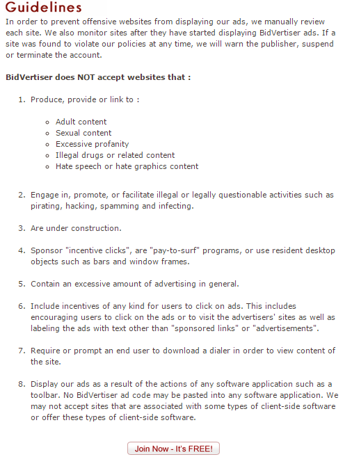 Publishers Guidelines, Bidvertiser