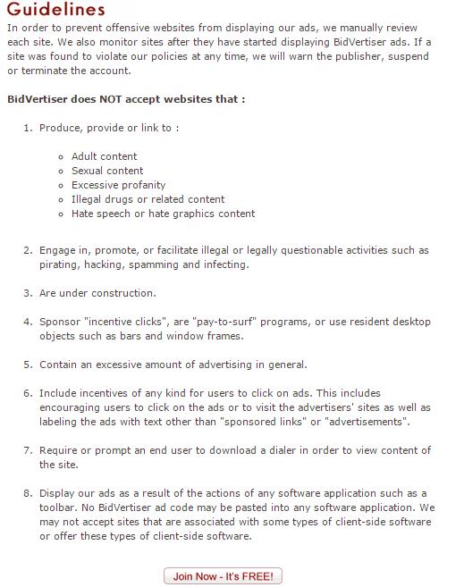 Publishers Guidelines, Bidvertiser