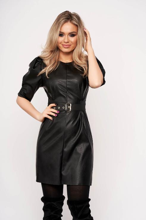 Rochie scurta neagra din imitatie de piele ieftina eleganta de ocazii la moda