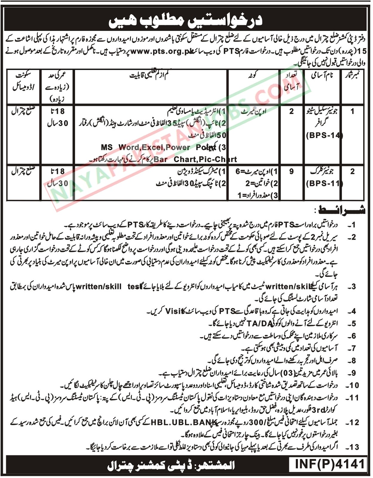 Latest Vacancies Announced in Office Of The Deputy Commissioner Chitral via Pakistan Testing Service 29 October 2018 - Naya Pakistan