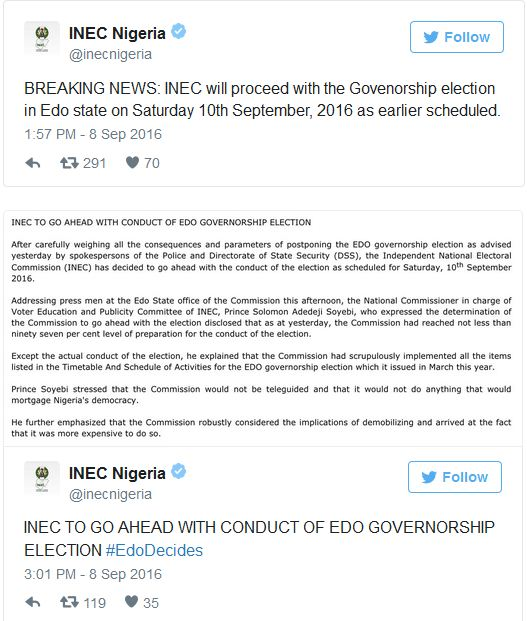 BREAKING NEWS: Edo Governorship Poll To Hold As Scheduled – INEC