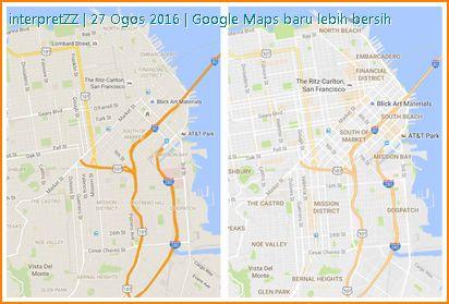 Gambar menunjukkan perbandingan antara Google Map lama dan terbaru.