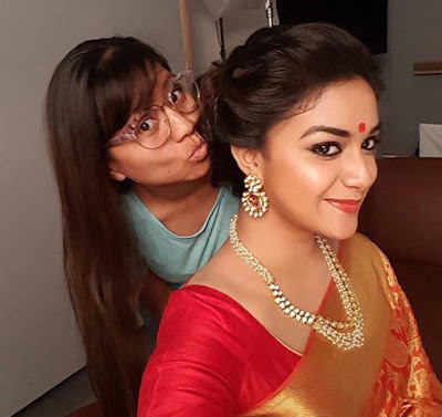 Keerthy Working Stills Mahanati