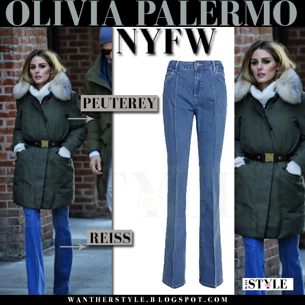 Olivia Palermo in dark green fur collar Peuterey parka and flared reiss jeans what she wore winter streetstyle