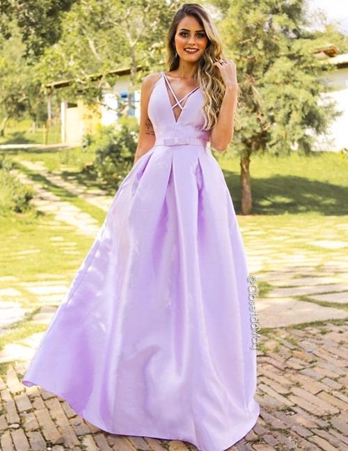 vestido lavanda estilo princesa