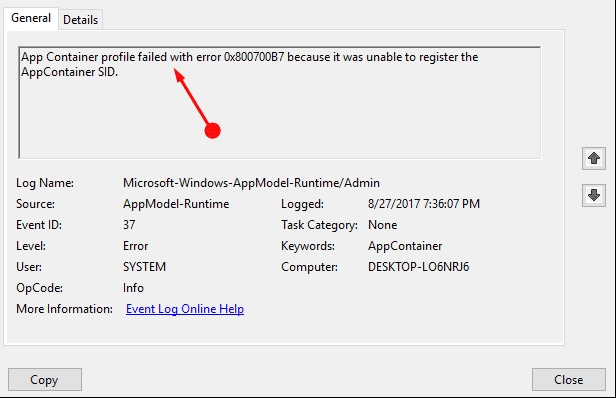 App Container Profile Failed Error 0x800700b7 in Windows 10 (Solved)
