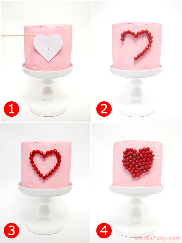 DIY Valentine's Day Sweet Heart Cake - BirdsParty.com