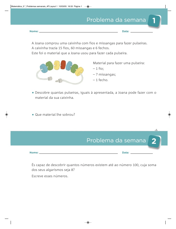 Caderno De Problemas 3º Ano Atividades De Matematica
