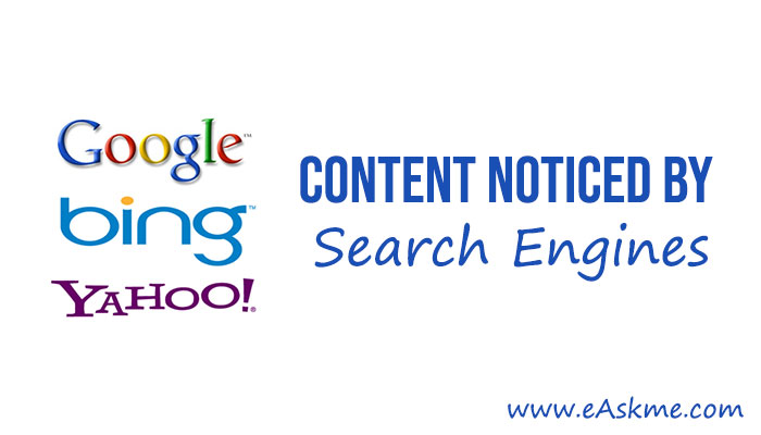 Tips for getting Content Noticed by Search Engines: eAskme