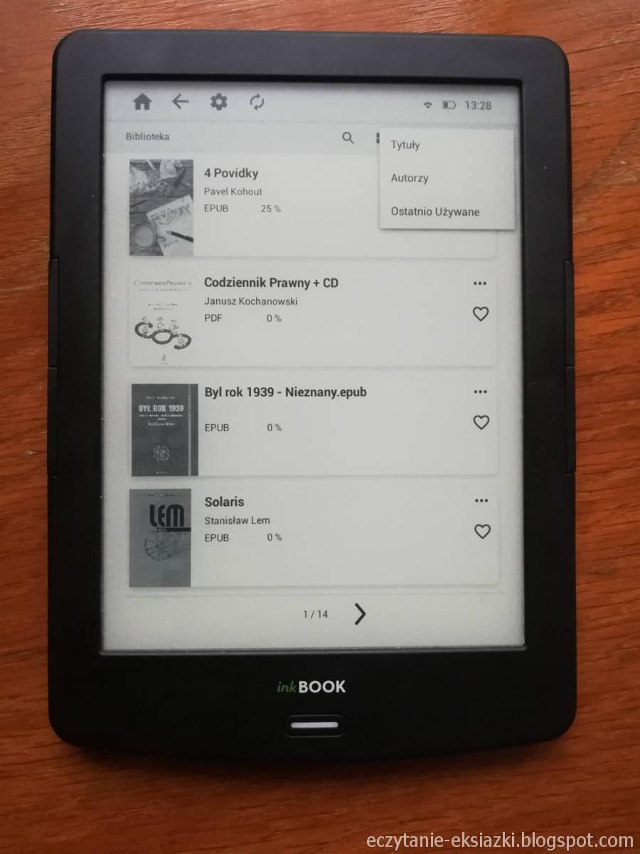 InkBOOK LUMOS – biblioteka z opcjami sortowania e-booków