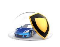 Bir kalkan ve yarım cam küre içinde korunan mavi renkli spor araba
