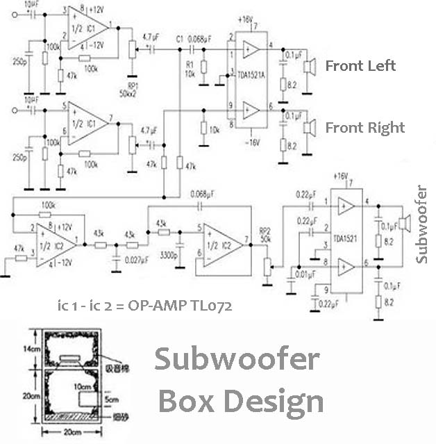 power audio amplifier 2  1  2 front   1 subwoofer